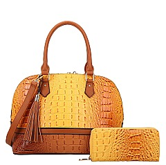 2-in-1 Crocodile Skin Dome Satchel Wallet Set