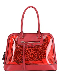 2 IN 1 SEE THROUGH DOME SATCHEL WITH LEOPARD POUCH