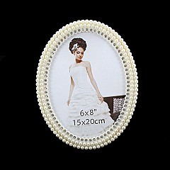 FANCY PEARL OVAL FRAME W/ DIAMONDS 6X8 SLPIC