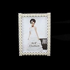 FANCY WEDDING FRAME W/ PEARLS AND DIAMONDS 6 x 8 SLPIC919