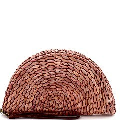 Natural Woven Half Moon Straw Clutch
