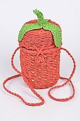 Strawberry Design Straw Clutch