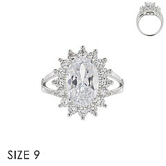 LARGE OVAL CUBIC ZIRCONIA STONE RING SLR1701SI