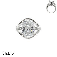 LARGE OVAL CUBIC ZIRCONIA ENGAGEMENT STYLE RING SLR1702SI