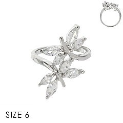 CUBIC ZIRCONIA BUTTERFLY RING SLR1703SI