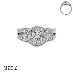 CUBIC ZIRCONIA ENGAGEMENT STYLE RING SLR1704SI