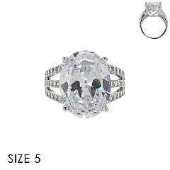 LARGE OVAL CUBIC ZIRCONIA STONE RING SLR1707SI