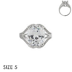 LARGE OVAL CUBIC ZIRCONIA STONE RING SLR1708SI