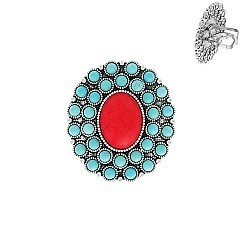 Glam Western Flower Turquoise Cuff Ring