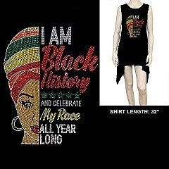 FASHIONABLE BLACK HISTORY RHINESTONE SHIRT