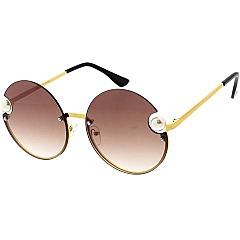 Pack of 12 Tint Pearl Side Round Sunglasses