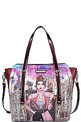 Nicole Lee WELCOME TO SPAIN PRINT SATCHEL BAG