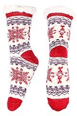 Pack of (12 Pairs) ASSORTED COLOR SNOWFLAKE ANTI-SKID WINTER SLIPPER SOCKS
