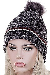 PACK OF 12 FASHION FLEECE LINED POMPOM BEANIES