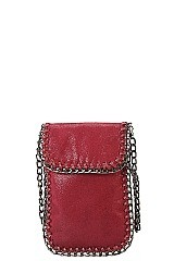 Metallic Chain Décor Mini Crossbody Cell Phone Bag