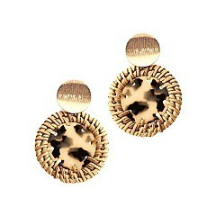Chic Straw Trim Leopard Print Acrylic Round Post Earring MH-FE3883