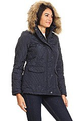 Solid Fitted Waterproof jacket With Fur Trim By Nina Rossi