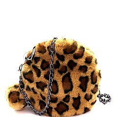 Leopard Print Pom Pom Accent Faux-fur Round Cross Body Mh-PPC6522