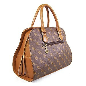 Two Tone Logo Print Satchel