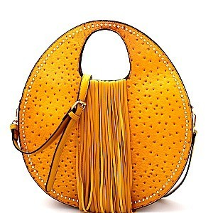 D0406-LP Ostrich Print Embossed Fringed Round Satchel