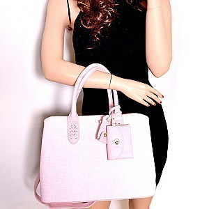 ES1332-LP Textured Classy Structured Tote with Matching Accessories