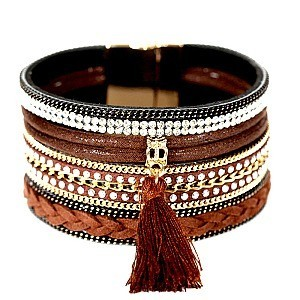 FB1299-LP Rhinestone Braid Thread Tassel Bohemian Leather Bracelet