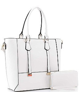 2 IN 1 DOUBLE STRAP METAL DESIGN TOTE BAG WALLET SET