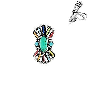 Trendy Western Style Turquoise Cuff Ring