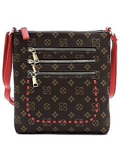 Multi Zip Pocket Monogrammed Whipstitch Cross Body Bag