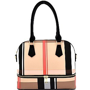 FGZ6342-LP Checker Plaid Print Zipper Accent Dome Satchel