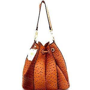 L0131-LP Uniquely Folded 2 in 1 Ostrich Drawstring Bucket Shoulder Bag