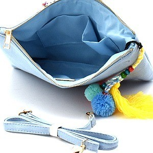PPC5472-LP  Tread Tassel Accent Embroidery Ethnic Denim Clutch Cross Body